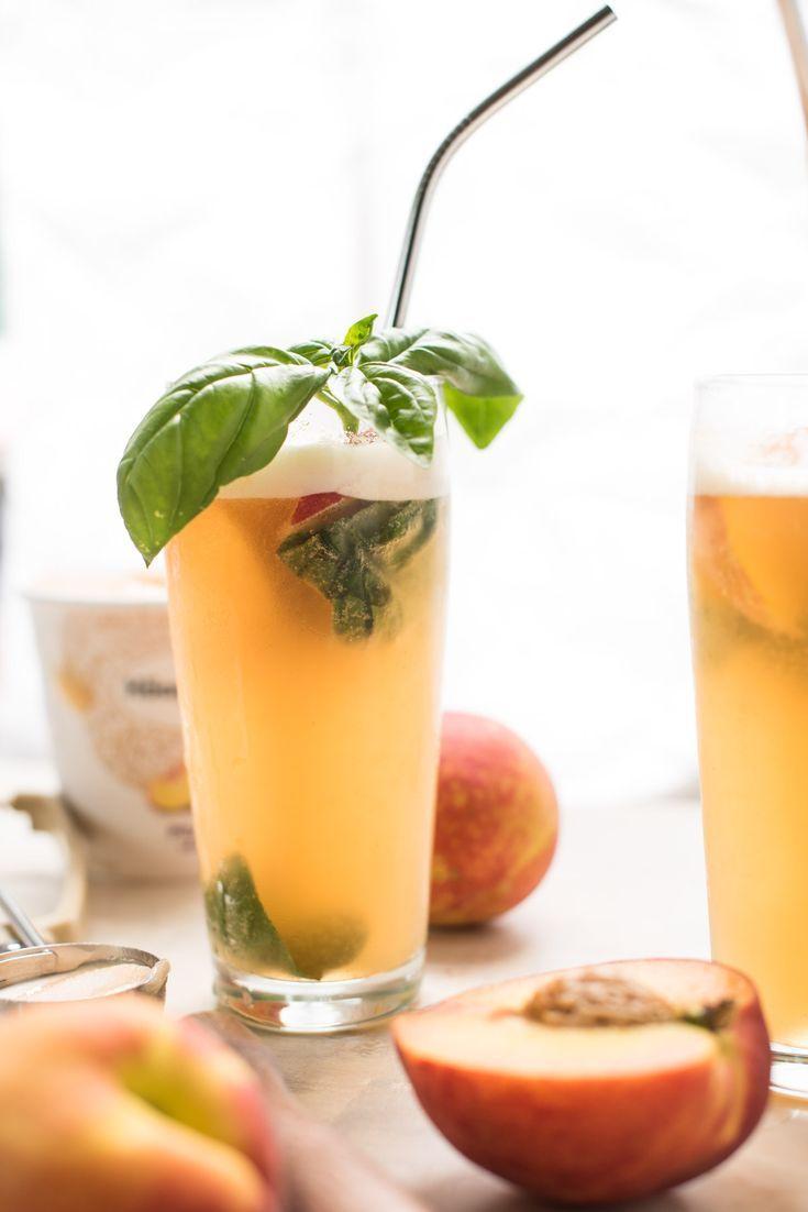 Summery Peach Basil Gin Floats