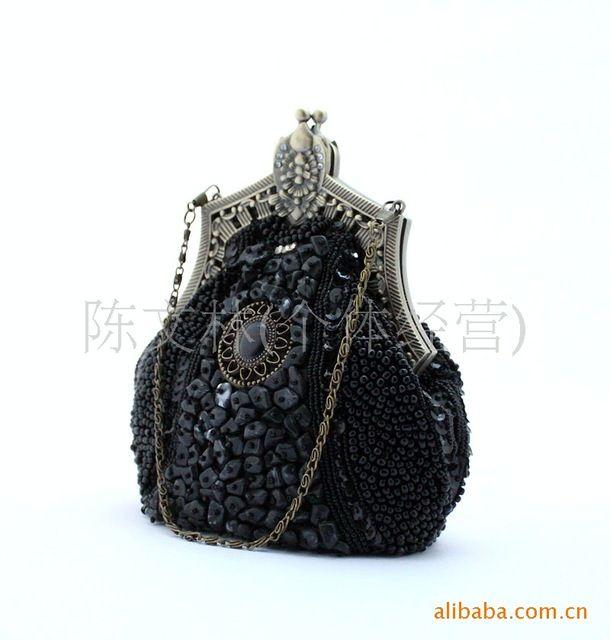 Women Clutch Bag Evening Bag ,Handmade beaded bag retro dress banquet@blue,Bridal Wedding Bag Shoulder Handbag