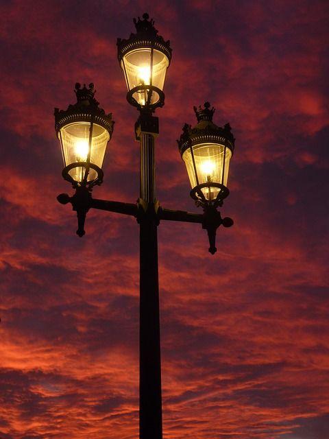 가로등, 랜 턴, 잔 광, 빛, 조명, 지옥, 하늘, 램프, 에서, 거리 조명, 조명 기둥
