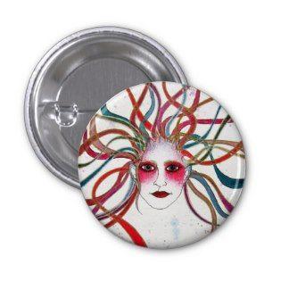 Colourful Fantasy Medusa Portrait Button by Apple of my Odd Eye #art