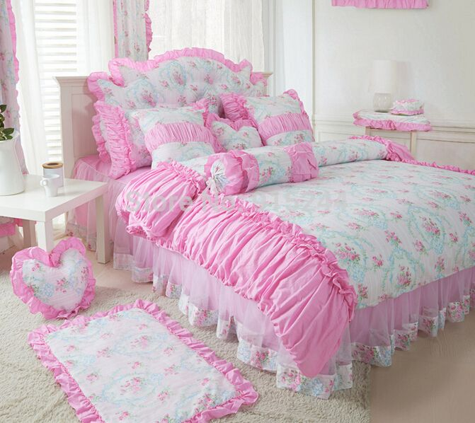 Find More Information about Cotton Pastoral SMALL  flower dots bedding set King Queen size duvet covers Princess Pink lace bed skirt Comforter BED IN BAGS,High Quality bedding set,China textile trends Suppliers, Cheap textile world bedding from Queen King Bedding Set  on Aliexpress.com