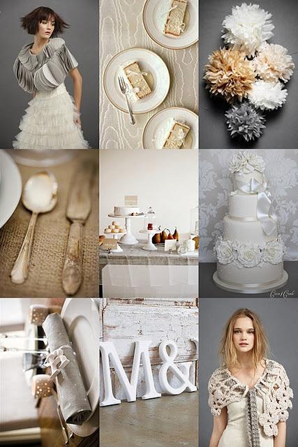 Mushroom, Grey & White wedding inspiration