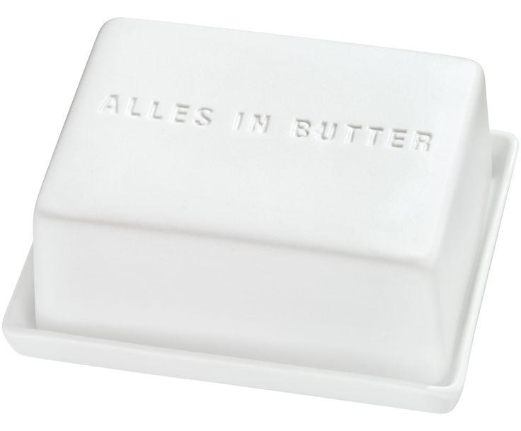 Mit EASY von Räder ist alles in Butter. Die stylische Butterdose aus Porzellan ist ein charmanter Hingucker auf Ihrem Frühstückstisch. Wird in praktischer Holzbox geliefert.