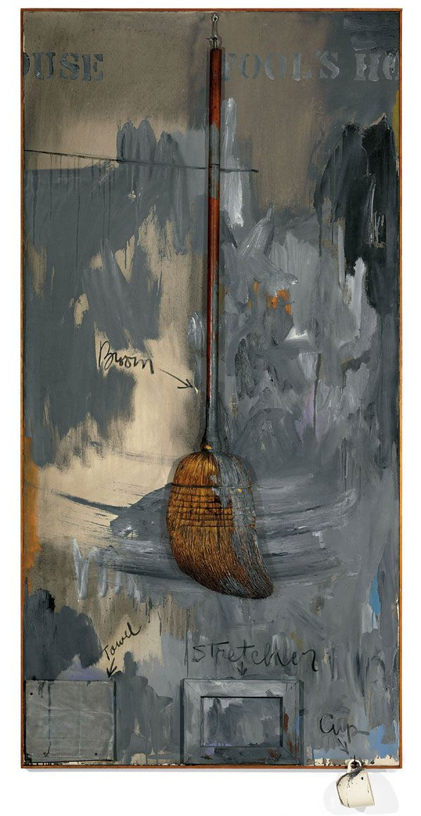 "Jasper Johns (b. 1930), Fool's House, 1962, Oil on canvas with objects, 72 x 36"", Collection of Jean-Christophe Castelli, on loan to the Walker Art Center, Minneapolis, © Jasper Johns/Licensed by VAGA, New York, Photograph Jamie M. Stukenberg / Professional Graphics Inc., Rockford, Illinois."