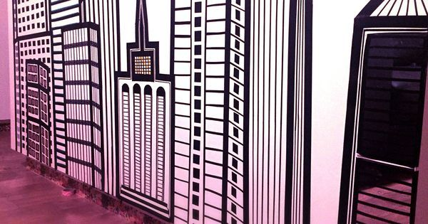 The back of my kitchen island ~ City Scape using:  #Electrical Tape  #Washi tape #Acrylic Mirror Tile #Sticky #Copper #Foil #Rental, #Removable, #geomet… | #Pinterest #creativity #diy #kitchen # mask