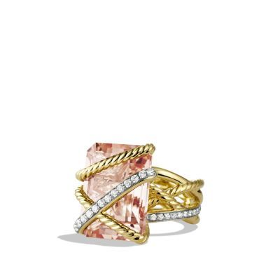 Cable Wrap Ring with Diamonds in 18K Gold