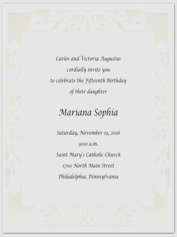 Hispanic Quinceanera Invitation Wording In Spanish