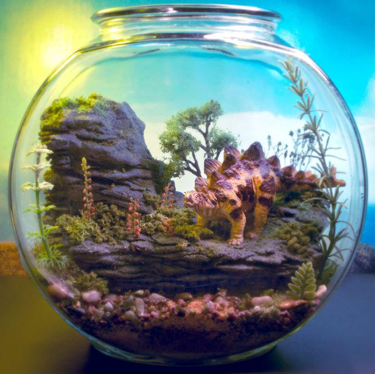 miniature dinosaur gardens images | Pet Stegosaurus Dinosaur - Mini Zen Garden - Terrarium / Diorama
