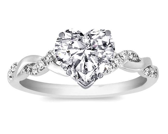 Heart Shaped Engagement Rings Designs | Ring - Heart Shape Diamond Petite  twisted pave band Engagement