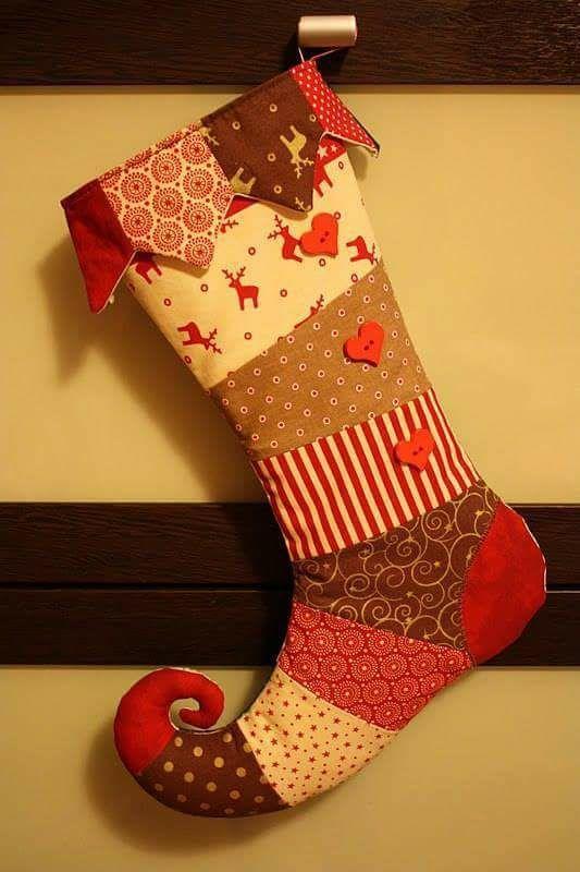 Patrón de bota navideña patchwork