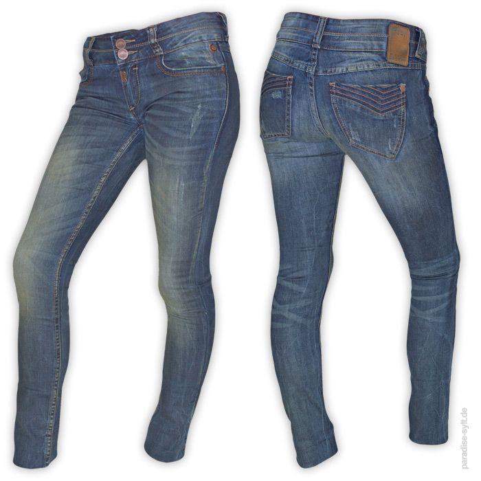 Timezone  Jeans ENYA  Elastische Slim Fit Jeans im Used Look und Destroyed Optik.      5-Pocket Design     verschließbare Münztrasche     Zip-Fly und doppelter Knopf     gelbliche verfärbung     zerstörte Stellen     elastisch     Farbe: jeans