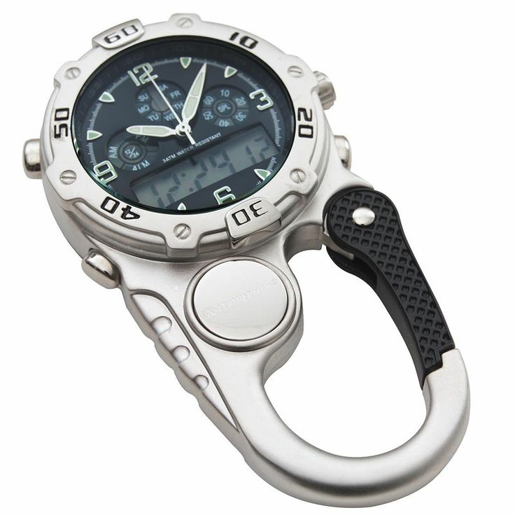 "LEATHERMAN CLIP WATCH ANALOGUE DIGITAL WHITE FACE ""FREE POSTAGE"" YLW09BK"
