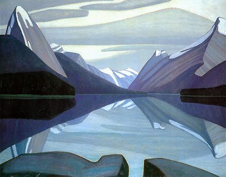 Lawren Harris, Maligne Lake, Jasper Park (1924). He was a Canadian artist and a member of the Group of Seven.