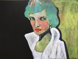 "Princess Diane painting by Norwegian artist Kari Anne Marstein. At Purenkel Galleri på Grünerløkka i Oslo. Norsk kunst. Norwegian art. ""Happily ever after"",160x120"