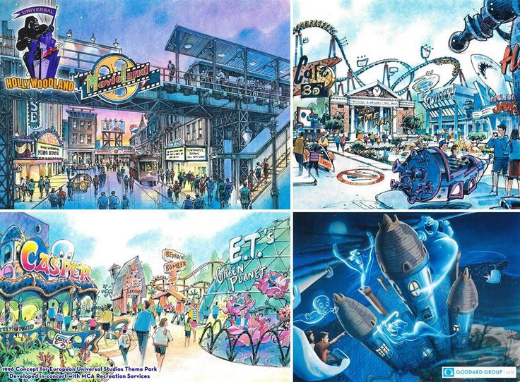 The Goddard Group mid-90's proposal for UNIVERSAL HOLLYWOODLAND takes a look at an assortment of concept art from throughout the park, including a very exciting concept for a hanging dark ride themed to 1995's CASPER film.