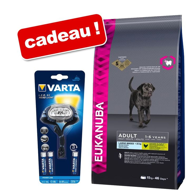 Animalerie  Croquettes Eukanuba 12/125/15 kg  lampe frontale Varta offerte !  Adult Medium Breed poulet (15 kg)