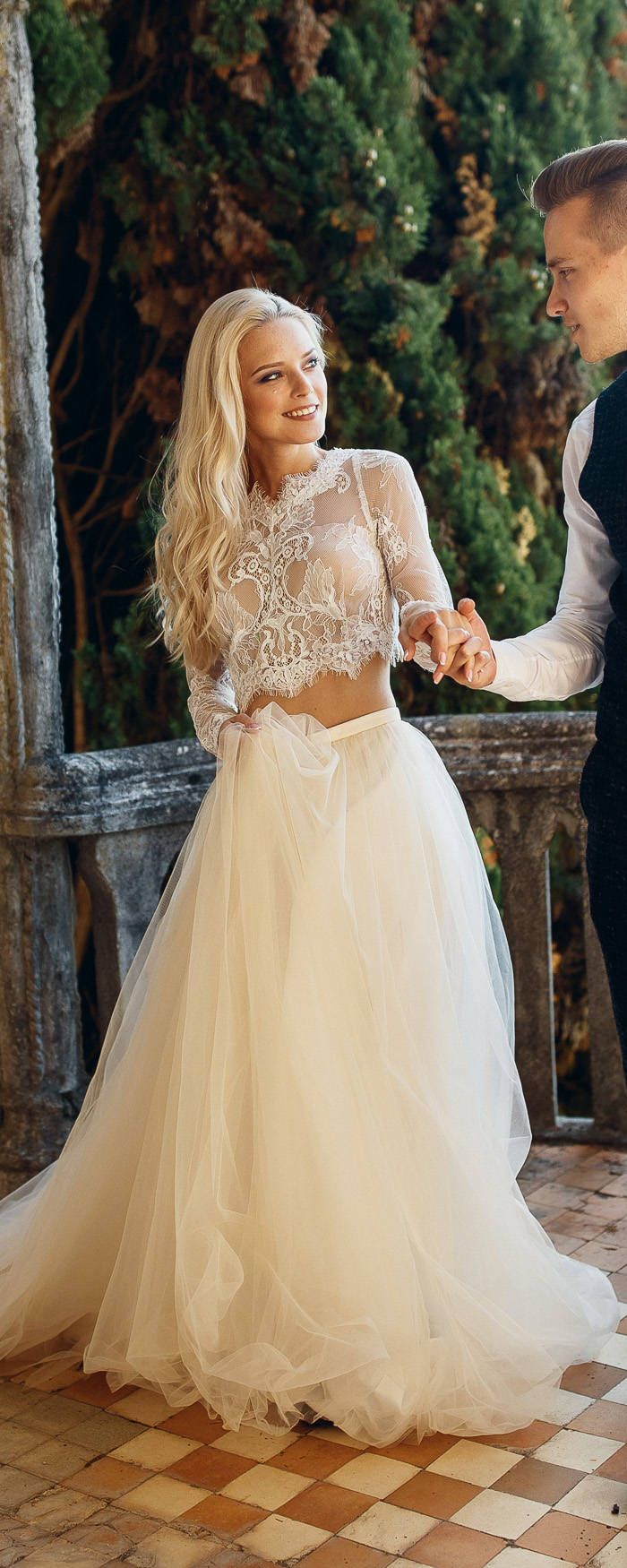 Wedding dress , unique wedding gown, champagne dress,sexy wedding dress, bridal gowns, Two Piece Wedding Dress