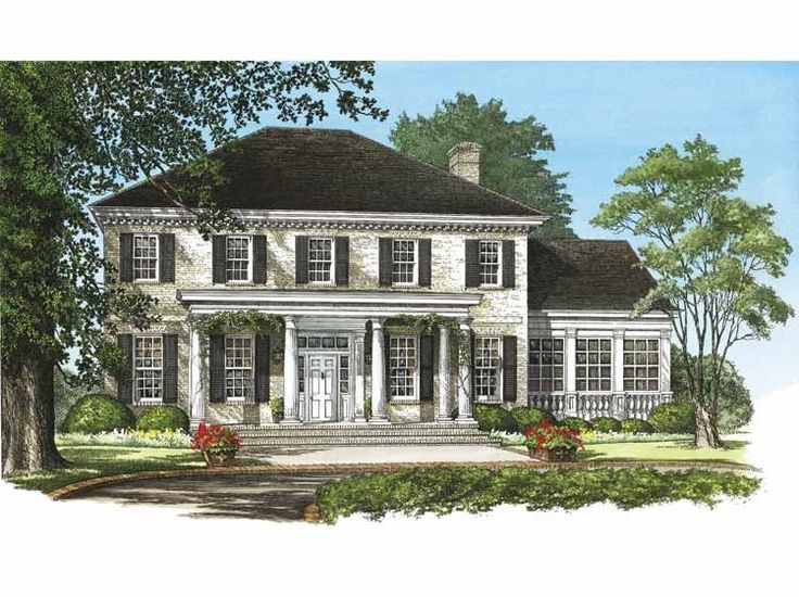 Greek revival house plan with 3920 square feet and 4 for One story greek revival house plans