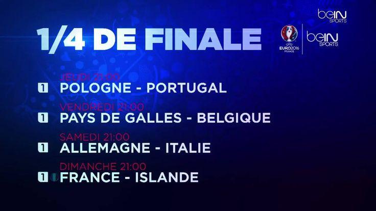 Tous les 1/4 de finale de l'#EURO2016 seront à vivre en direct sur beIN SPORTS > Jeudi : Pologne - Portugal > Vendredi : Pays de Galles - Belgique > Samedi : Allemagne - Italie > Dimanche : France - Islande http://po.st/2zO2M5