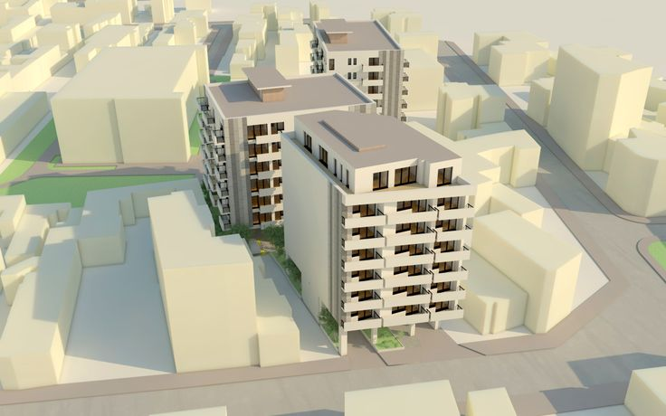 ansamblu residential compus din 3 blocuri in Bucuresti, parcare substerana pe un nivel, parter liber. Zona centrala cu acces la circulatii de trafic mare.
