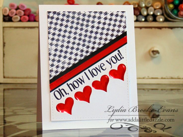 Lydia's Houndstooth card is awesome! The Loving Thoughts sentiment looks cool stamped at an angle, and I love her Shuffle Fri-Die cut hearts which she backed with a red metallic sheet. www.cas-ualfridaysstamps.com #casfridays #sh