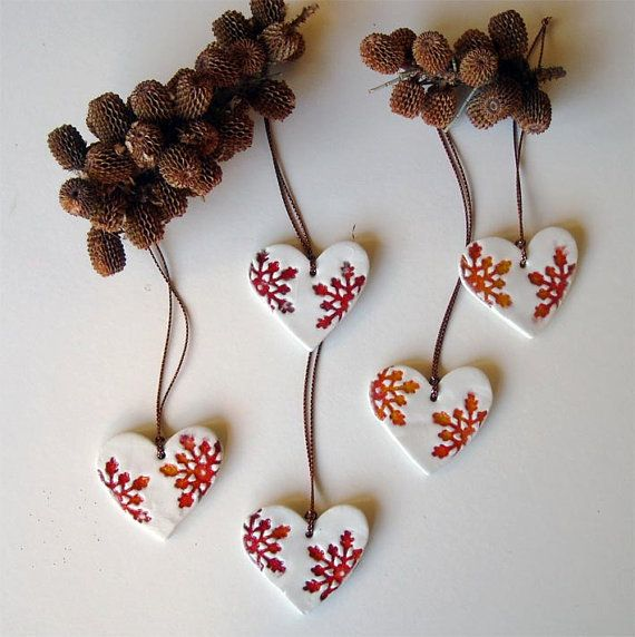 Ceramic heart Christmas ornament red and white set by Azulsupplies
