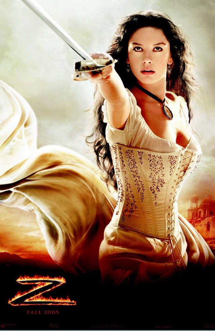 Catherine Zeta-Jones as Elena and Antonio Banderas as Zorro/Alejandro in Sony Pictures' The Legend of Zorro – 2005