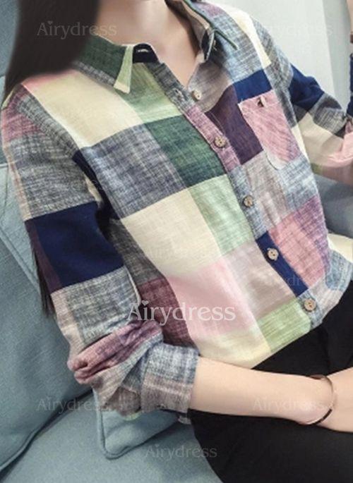 f6dca577 Blusas Algodón Informal Manga larga Cuello Cuadros - Airydress Camisas  Manga Larga Mujer, Camisa De