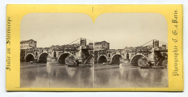 Stereograph view of the Tiber River, Rome.
