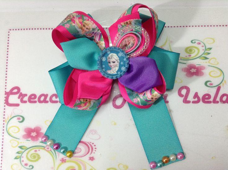 Moño de Frozen rosa y azul  Creaciones Rosa Isela VIDEO 247