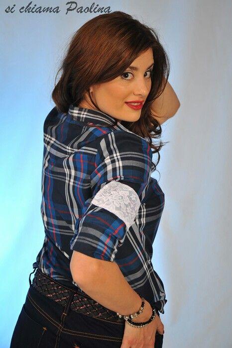 Camisa escocesa con puños y bajo cuello de encaje by Si chiama Paolina ♡