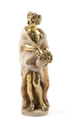 Våren, stående kvinna, huggen av alabaster, med huvud , armar, ben och attribut av gjuten brons. Från 1700-talets andra hälft.