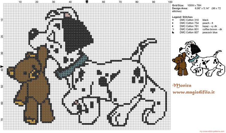 Dalmatian puppy with Teddy Bear - pattern by Monica