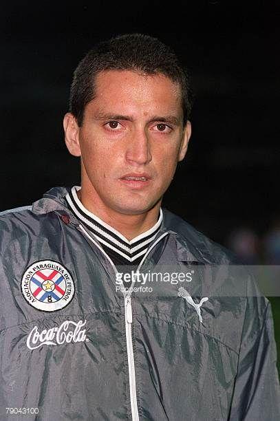 Football 2002 South American CONMEBOL World Cup Qualifier Montevideo 28th March 2001 Uruguay 0 v Paraguay 1 Portrait of Paraguay's Aldo Bobadilla