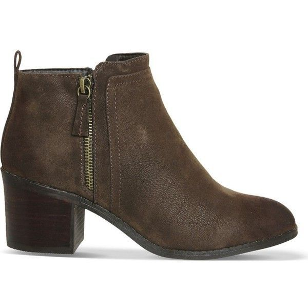 OFFICE Incarnation faux-leather ankle boots ($86) ❤ liked on Polyvore featuring shoes, boots, ankle booties, chocolate, bootie boots, block heel booties, round toe booties, zipper boots and side zip boots