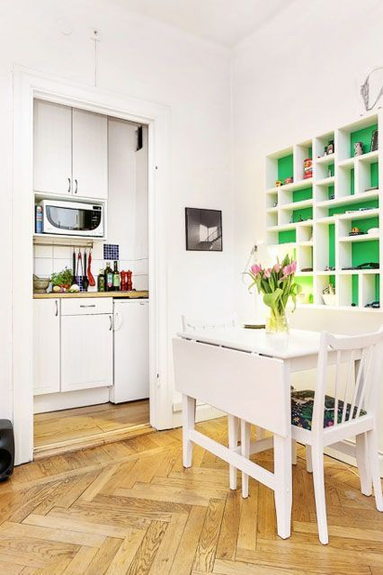 The foldable dining table is a huge space-saver. Related: You're Going To Wish You Could Stay In This Guest House #refinery29 http://www.refinery29.com/living-in-a-shoebox/20#slide-9