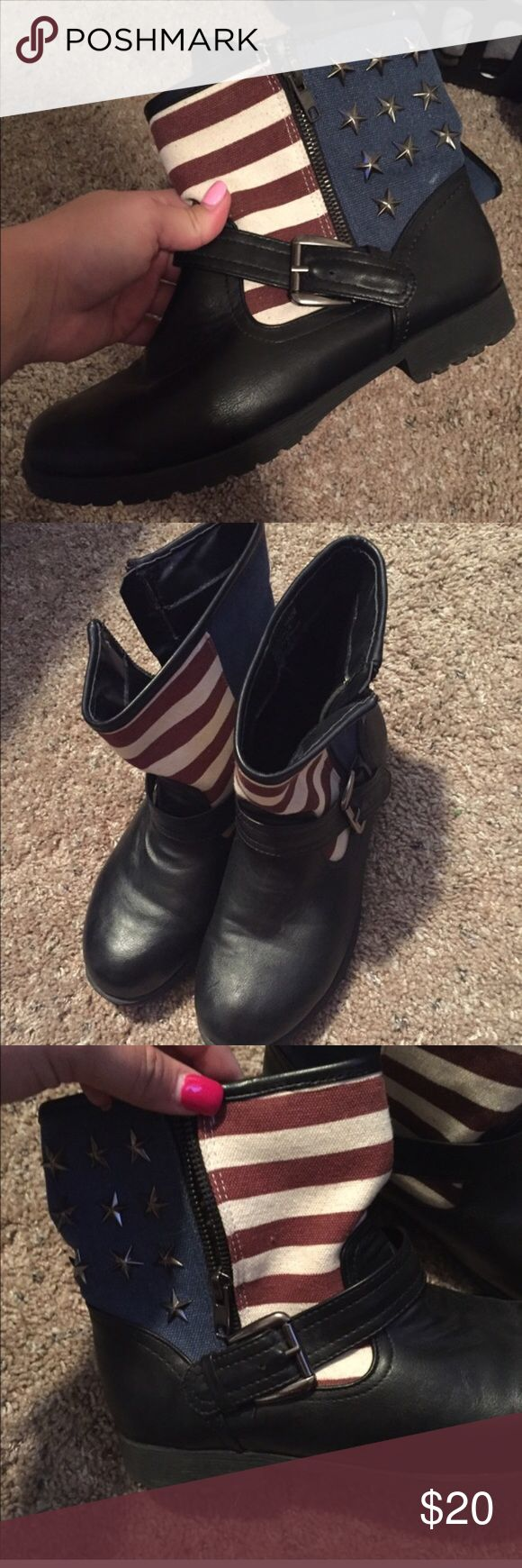 American flag ankle boots By rampage and bought from Macy's American Apparel Shoes Ankle Boots & Booties
