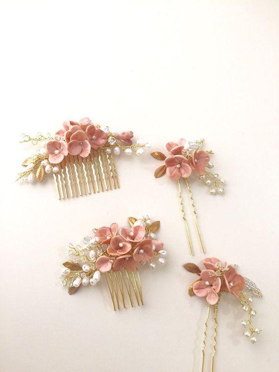 Blush Bridal hair comb headpiece pearl hair comb от amuandpri