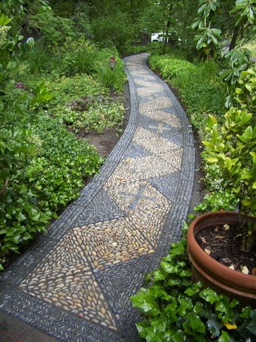 32 Cool Pebble Garden Paths : 32 Amazing Pebble Garden Paths With Yellow Black Small Pebble With Long Strip Design And Plant Decor