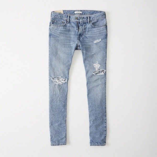 Abercrombie & Fitch Skinny Jeans ($88) ❤ liked on Polyvore featuring men's fashion, men's clothing, men's jeans, ripped medium wash, mens zipper jeans, mens ripped skinny jeans, mens super skinny jeans, mens stretch skinny jeans and mens ripped jeans