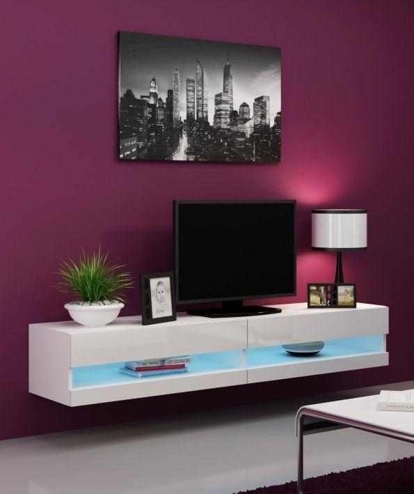 zwevend hoogglans wit tv-meubel inclusief blauwe led verlichting