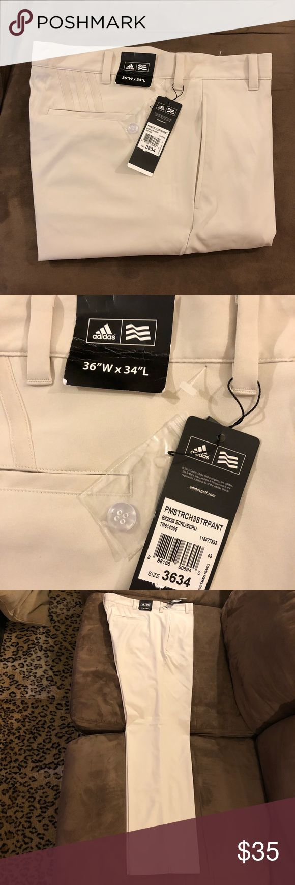 Adidas NWT Ecru Light Tan Golf Pants 36x34 Adidas Solid Light Tan Ecru Golf Pants size 36x34, Flat Front and plain bottom! NEW WITH TAGS!! Please make reasonable offers and bundle! Ask questions! adidas Pants Chinos & Khakis