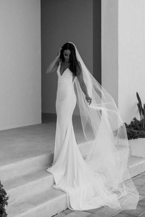 Simple elegant wedding dress and long veil.