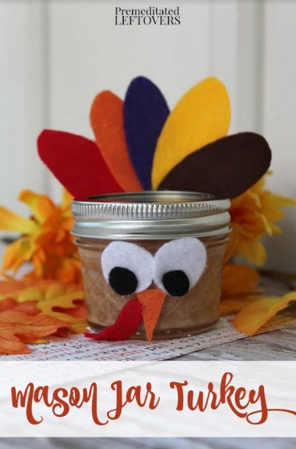 This cute Mason Jar Turkey Craft is an easy Thanksgiving activity for kids. When finished, the turkeys can be used to decorate or filled with goodies. DIY fall craft project idea. Can be used as a party favor or hostess gifts. #Thanksgiving #Kids