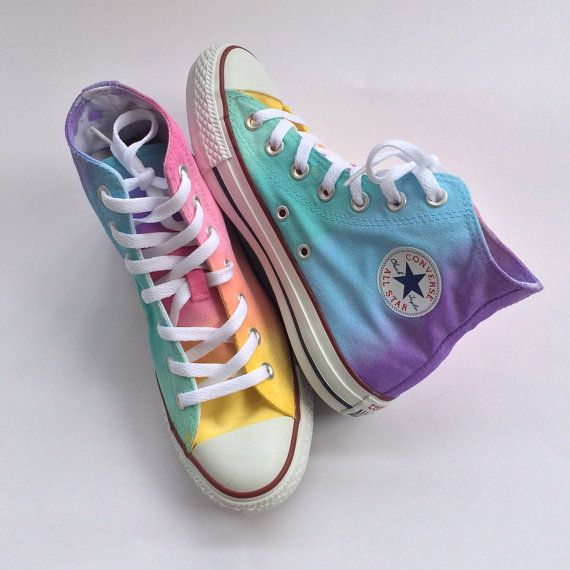 The softer side of the rainbow is here in the pastel tie dyed high top Converse! A unique hand painted pastel rainbow tie dye ombré color blend