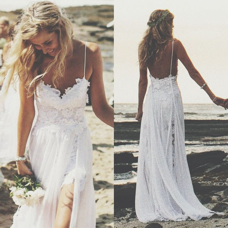 lacy white beach wedding dress casual gown with spaghetti straps