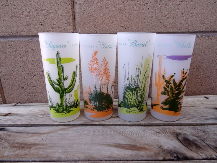 Vintage Blakely Oil And Gas, 4 Frosted Glasses, Arizona Cactus, Tumbler, Ice Tea, Beer Glasses, Southwestern Cactus Glassware by TiesofMyFather on Etsy
