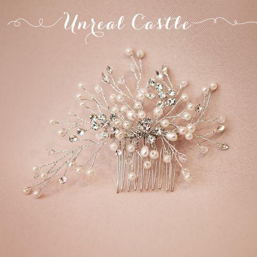 UnrealCastle филиалы жемчуг кристалл свадебный головной убор короткие волосы гребень вставляется - Taobao
