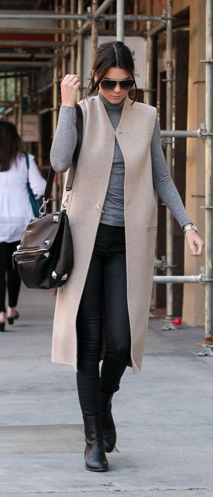 Kendall Jenner street style: long vest and turtleneck with edgy accessories