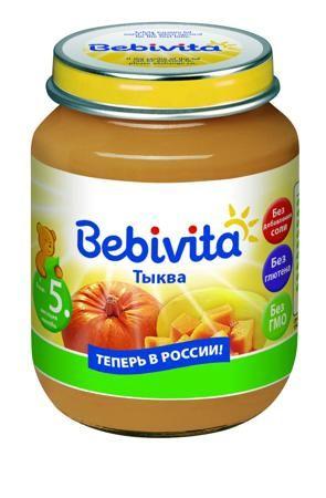 """Bebivita Пюре Тыква пюре, с 5 мес.  — 45р. --------------------- Детское пюре """"Тыква"""" (с 5 месяцев), 100 гр. от Bebivita 1825RU  Тыква — очень вкусный и полезный овощ, благодаря его сладковатому вкусу многие малыши очень охотно воспринимают именно тыкву для первого прикорма.  Нежное тыквенное пюре от «Бебевита» изготовлено из высококачественного сырья. Продукт прошел очень тщательный контроль на всех стадиях производства.  Тыквенное пюре отличается великолепной консистенцией, нежным…"""
